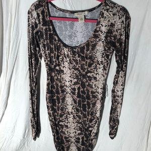 Bodycon Snakeskin Long Sleeve Mini Dress Worn Once